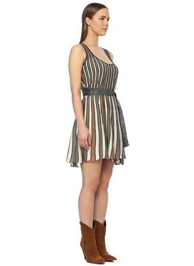 NetWork NetWork 1072932 Çizgili Slim Fit U Yaka Çok Renkli Kadın Mini Elbise Antrasit